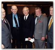 Bill Hobby with (from left) Sens. Chet Brooks, Grant Jones, Ray Farabee and Max Sherman, November 17, 2000. Courtesy of the Hobby family.